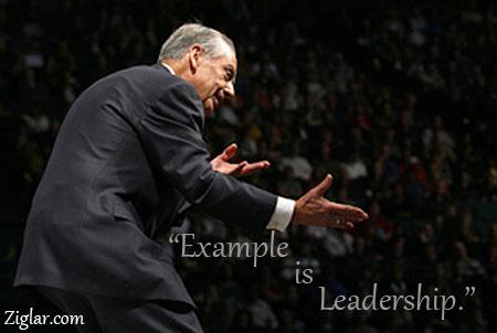 Zig ziglar in action with leadership quote.